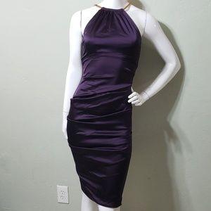 CACHE purple shirred cocktail dress